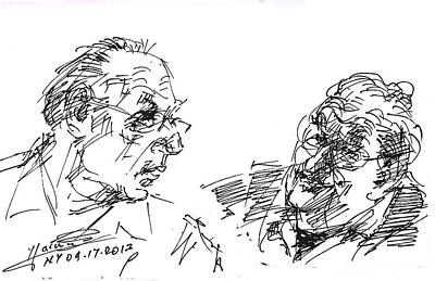 Talking Drawing - Men Talking by Ylli Haruni