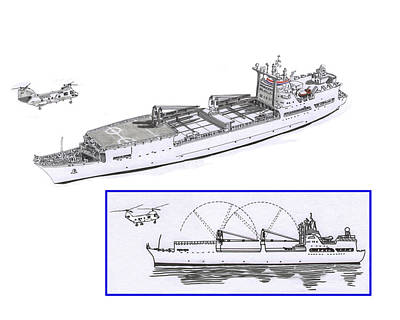 Helicopter Drawing - Merchant Marine Conceptual Drawing by Jack Pumphrey