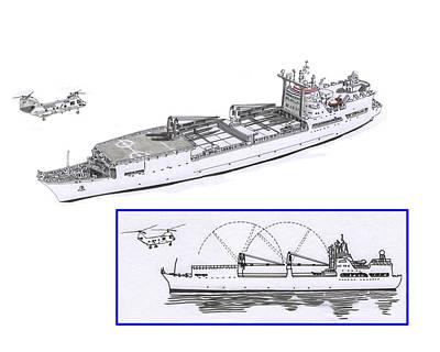 Drawing - Merchant Marine Conceptual Drawing by Jack Pumphrey