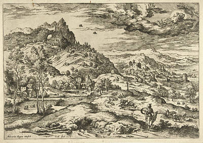 Port Town Drawing - Mercury With The Head Of Argus, Hieronymus Cock by Hieronymus Cock And Matthys Cock