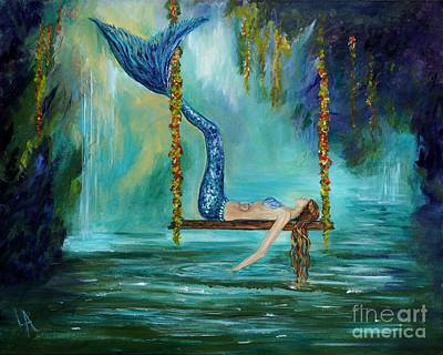 Mermaid Tail Painting - Mermaids Lazy Lagoon by Leslie Allen