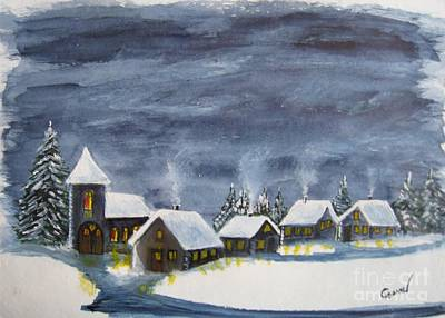 Snow Painting - Merry Christmas 1  by Christine Huwer