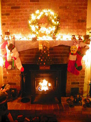 Photograph - Merry Christmas Fireside 2 by Lisa Wooten