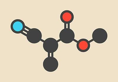 Polymer Photograph - Methyl Cyanoacrylate Molecule by Molekuul