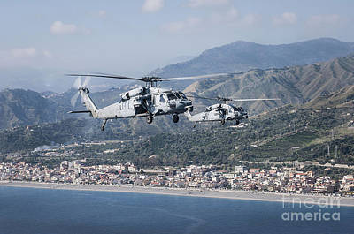 Mh-60s Sea Hawk Helicopters Art Print by Stocktrek Images