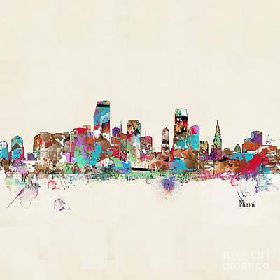 Painting - Miami Floria Skyline  by Bri B