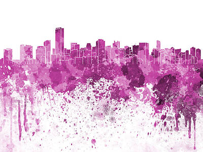 Miami Skyline Painting - Miami Skyline In Pink Watercolor On White Background by Pablo Romero