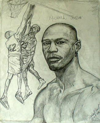 Basket Ball Drawing - Michael Jordan by Darlene Ricks- Parker