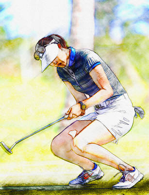Ernie Els Wall Art - Digital Art - Michelle Wie Reacts After Missing A Putt On The 15th Hole by Don Kuing