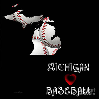 Andee Design Red Digital Art - Michigan Loves Baseball by Andee Design