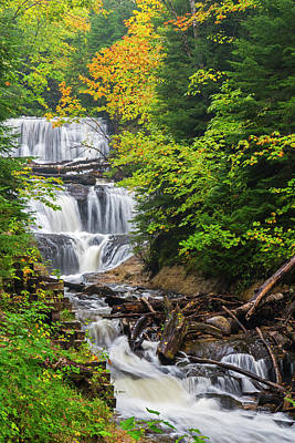 Waterfalls And Trees Landscape Photograph - Michigan, Pictured Rocks National by Jamie and Judy Wild