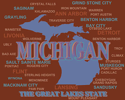 Port Town Digital Art - Michigan State Pride Map Silhouette  by Keith Webber Jr