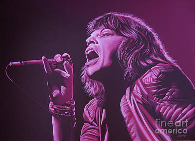 Pink Painting - Mick Jagger by Paul Meijering
