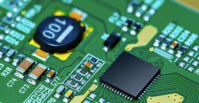 Circuit Photograph - Microchip On Printed Circuit Board by Wladimir Bulgar