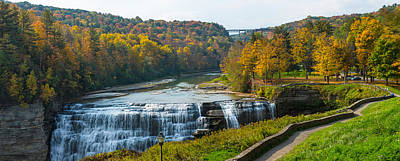 Middle Falls In Autumn, Letchworth Art Print by Panoramic Images
