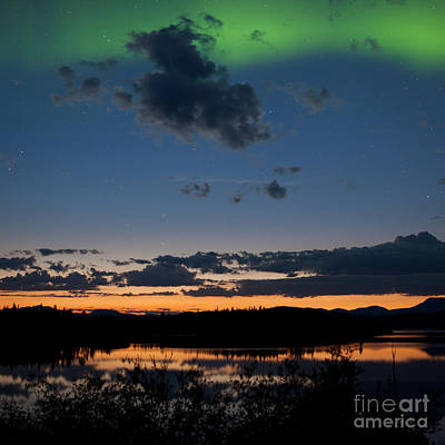 Vintage Diner Cars Royalty Free Images - Midnight summer Northern lights Aurora borealis Royalty-Free Image by Stephan Pietzko