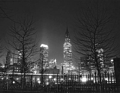 Bare Trees Photograph - Midtown Manhattan At Night by Underwood Archives