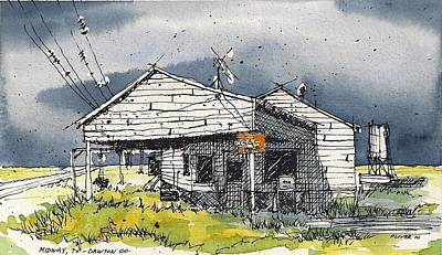 Art Print featuring the mixed media Midway Texas Fillin' Station by Tim Oliver