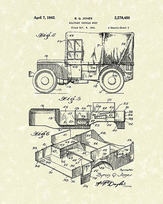 Jeep Drawing - Military Vehicle 1942 Patent Art by Prior Art Design