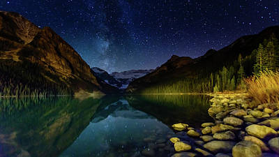 Photograph - Milky Way Over Lake Louise by Chris Manderson