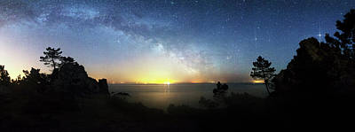 Planets Photograph - Milky Way Rising Over A Coastline by Laurent Laveder