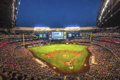 Photograph - Milwaukee Brewers Miller Park Painted Digitally by David Haskett