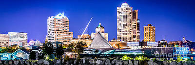 Royalty-Free and Rights-Managed Images - Milwaukee Skyline at Night Photo in Blue by Paul Velgos