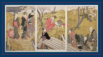 Portrait Woodblock Painting - Mimeguri No Dote = The Embankment At Mimeguri by Artokoloro