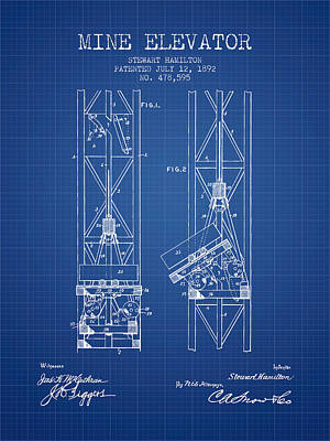 Mine Elevator Patent From 1892 - Blueprint Art Print by Aged Pixel