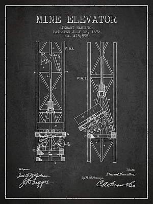 Mine Elevator Patent From 1892 - Charcoal Art Print by Aged Pixel
