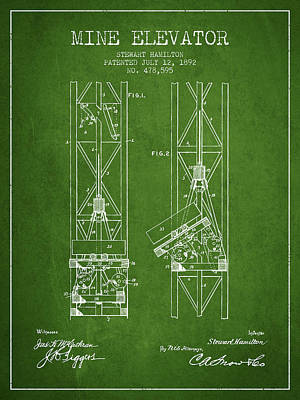 Mine Elevator Patent From 1892 - Green Art Print by Aged Pixel