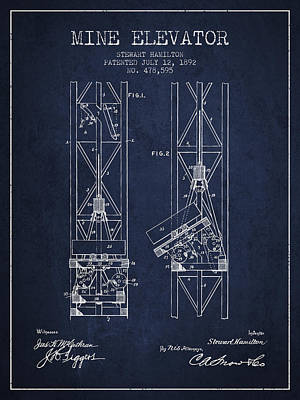 Mine Elevator Patent From 1892 - Navy Blue Art Print by Aged Pixel