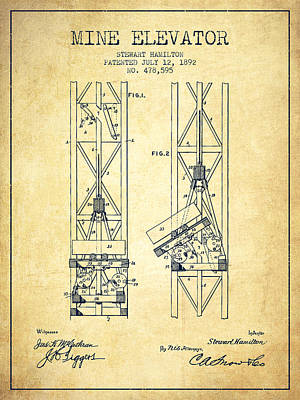 Mine Elevator Patent From 1892 - Vintage Art Print by Aged Pixel