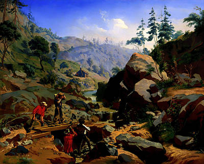 Miners Painting - Miners In The Sierras by Mountain Dreams
