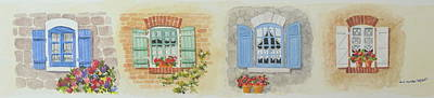 Painting - Miniature Paintings Of Brittany's Windows by Mary Ellen Mueller Legault