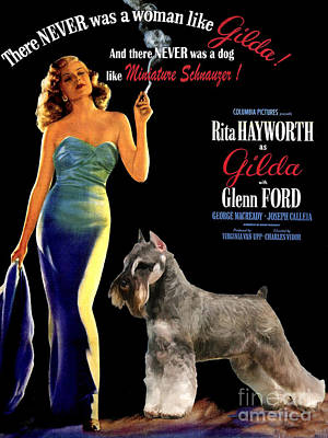 Miniature Schnauzer Painting - Miniature Schnauzer Art Canvas Print - Gilda Movie Poster by Sandra Sij