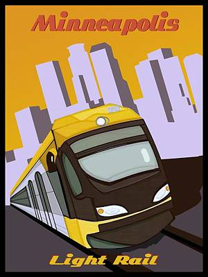 Painting - Minneapolis Light Rail Travel Poster by Jude Labuszewski