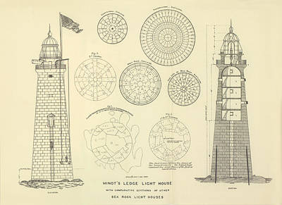 Coast Guard Drawing - Minots Ledge Lighthouse by Jerry McElroy - Public Domain Image