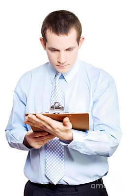 Minute Taking Businessman Reading Meeting Notes Art Print