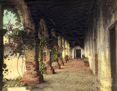 Photograph - Mission Corridor San Juan Capistrano Calif Circa 1920 by California Views Archives Mr Pat Hathaway Archives