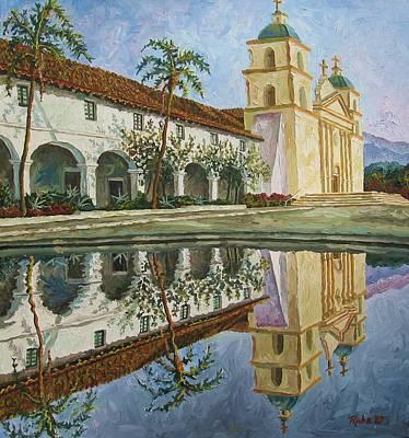 Santa Barbara Painting - Mission Santa Barbara by Mike Rabe