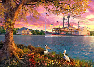 Steamboat Painting - Mississippi Queen by Dominic Davison