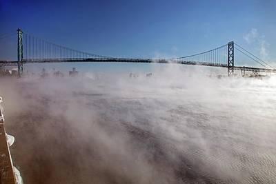 Mist-shrouded Bridge Art Print by Jim West