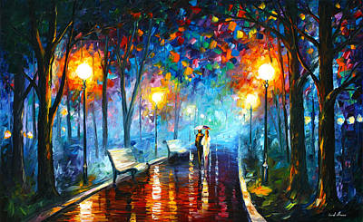 Light Reflections Painting - Misty Mood by Leonid Afremov