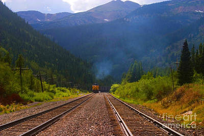 Steve Krull Royalty-Free and Rights-Managed Images - Misty Mountain Train by Steve Krull