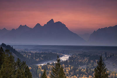 Mountains Photograph - Misty Teton Sunset by Andrew Soundarajan