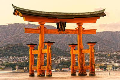 Floating Torii Photograph - Miyajima Torii Gate -  Japan by Luciano Mortula