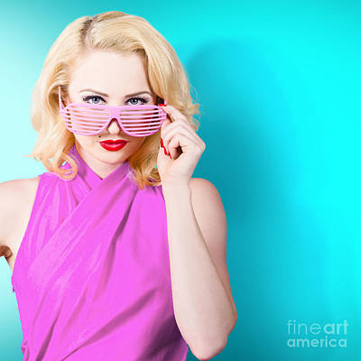 Photograph - Model Girl Wearing Retro Glasses. Style Perfection by Jorgo Photography - Wall Art Gallery