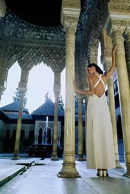 Photograph - Model Wearing A White Pertegaz Dress by Raymundo de Larrain