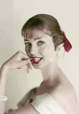 Flirty Photograph - Model With Hand To Her Mouth by Frances McLaughlin-Gill